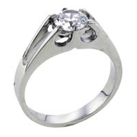 Size8 Round Cathedral Set Cubic Zirconia Sterling Silver Ring Gift Fashion Jewelry