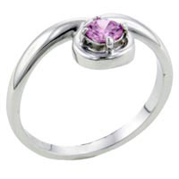 Size8 Round Pink Cz Sterling Silver Loop Ring Gift Fashion Jewelry