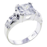 Size8 Square Cz 925 Sterling Silver Ring Gift Jewelry Fashion