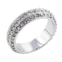 Triple Wide Cz Studded Band Ring