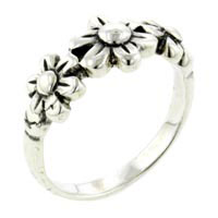 Sterling Silver Size 8 Fashion Triple Flowers Rings