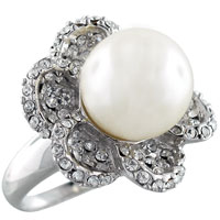 Silver Faux Pearl Flower Ring