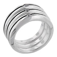 Classic Round Cut Stripe Trio Band 925 Sterling Silver Clear Cz Ring