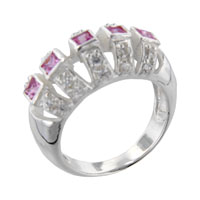 Square Cut Pink Cz Canopy Ring