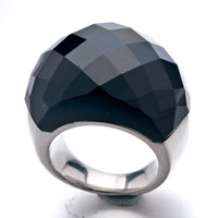 Size8 Classic Black Cut Round Agate Ring