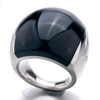Size8 Elegant Black Smooth Round Agate Ring