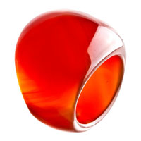 Red Round Smooth Agate Ring