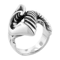 Size9 Tribal Horned Blade 925 Sterling Silver Ring Unique