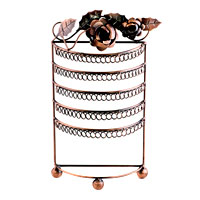 Copper Bronze Roses Wine Vintage Jewelry Earring Holder Organizer Stand Display