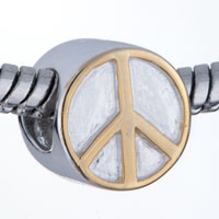 Golden Peace Symbol 925 Sterling Silver Beads Charms Bracelets Fit All Brands