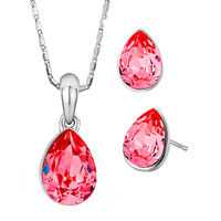 Shining Padparadscha Swarovski Crystal Drop Pendant Earrings Set Gift