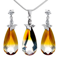Classic November Birthstone Topaz Swarovski Crystal Drop Pendant Earrings Set Knot