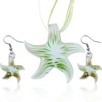 3 Pcs Green Starfish Pendant And Earrings Murano Glass Jewelry Set