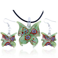 Green Butterfly Dichroic Pendant Earrings Murano Glass Jewelry Set