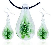 Green Flower Clear Drop Pendant Earrings Murano Glass Jewelry Set
