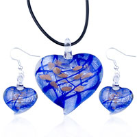 Blue Heart Pendant And Earring Murano Glass Jewelry Set Necklace