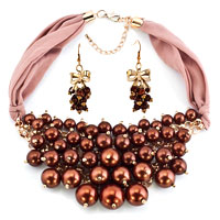 Bling Jewelry Brown Pearls Necklace And Earrings Set Fits Banquet Pendant