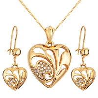 3 Pcs April Birthstone 14 K Gold Plated Heart Pendant Earrings Set