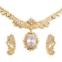 3 Pcs April Birthstone Drop Clear Crystal Pendant Wing Earrings Set