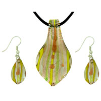 Green Leaf Earring Pendant Murano Glass Jewelry Set
