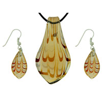 Amber Wave Striped Pendant Murano Glass Jewelry Set