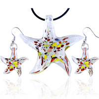 Starfish Multicolor Earrings Pendant Murano Glass Jewelry Set