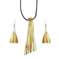 Orange Triangular Striped Earring Pendant Murano Glass Jewelry Set
