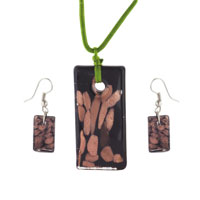 Black Rectangle Fashions Earring Pendant Murano Glass Jewelry Set
