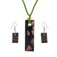 Black Gold Rectangle Fashions Earring Pendant Murano Glass Jewelry Set