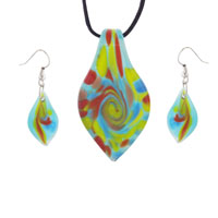 Multicolored Teardrops Murano Glass Pendant Earrings Set Necklace