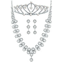 Wedding Bridal Sets Pearl Flower Bridal Necklace Tiara Bride Hair Headpiece Front Crown Earrings Pendant