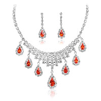 Wedding Bridal Sets Oval Light Red Cubic Zirconia Cz Drop Bridal Necklace Earrings Pendant
