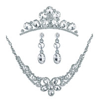 Wedding Bridal Sets Oval Clear White Cubic Zirconia Cz Flower Bridal Necklace Tiara Bride Hair Headpiece Front Crown Earrings Pendant