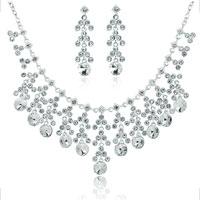 Wedding Bridal Sets Clear White Cubic Zirconia Cz Dangle Bridal Necklace Earrings Pendant