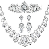 Wedding Bridal Sets Clear White Cubic Zirconia Cz Bridal Necklace Tiara Hair Headpiece Front Crown Earrings Pendant