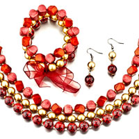 Garnet 4 Pieces Of Resin Bracelet Earrings Necklace Jewelry Set Pendant