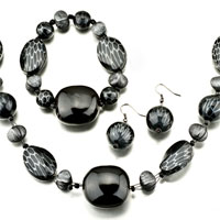 Black 4 Pieces Of Bracelet Earrings Set Pendant Necklace Jewelry