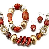4 Pieces Of Jewelry Resin Bracelet Earrings Set Pendant Necklace