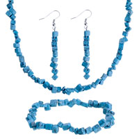 Classic Chip Stone Charms Set 4 Pcs Turquoise Stone Jewelry Set Necklace