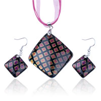Pink Fused Dichroic Pendant And Earring Murano Glass Jewelry Set