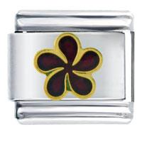 Maroon Drop Flower Italian Charms Bracelet Link
