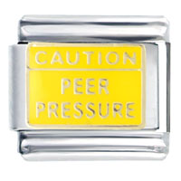 Caution Peer Pressure Italian Charms Bracelet Link
