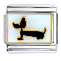 Daschund Hotdog Puppy Dog Animal Italian Charms Bracelet Link