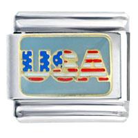 Usa Flag Italian Charm Bracelet Bracelet Link