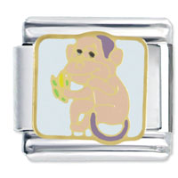 Animal Monkey Eating Banana Italian Charms Bracelet Link
