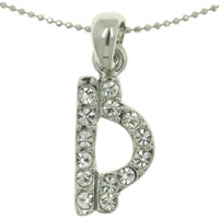 Libra Horoscope Zodiac With Clear White Crystal Cz Pendant Necklace