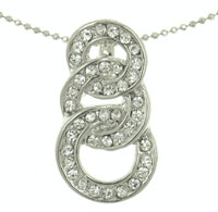 Mens Womens Three Rings Cubic Zirconia Crystal Pendant Necklace