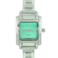 Square Green Christmas Watch St Patrick S Day Italian Charms Fashion Jewelry Hand Painted Italian Charm Watch