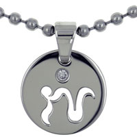 Capricorn Horoscope Zodiac Sign Stainless Steel Medallion Pendant Necklace 18 In