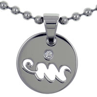 Aquarius Horoscope Zodiac Sign Stainless Steel Medallion Necklace